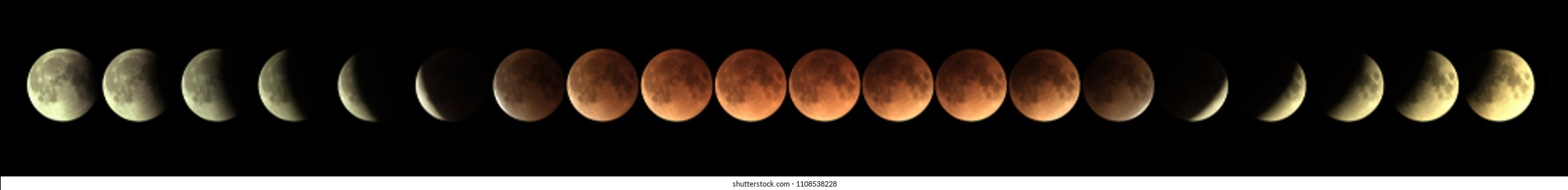 time series of total Lunar eclipse  on 31 January 2018 as it appeared as supermoon at perigee and also a blue Moon as a second full moon of January 2018 each image represented 10 minutes apart.