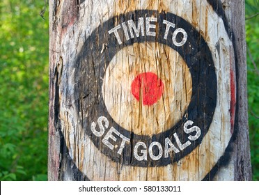 Time to set Goals - tree with target and text in the forest