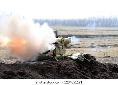 the time of the shot of ATGM, anti-tank guided missile, Ukraine and Donbass conflict