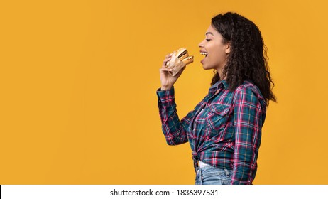 Time For Snack. Side View Portrait Of Hungry Black Lady Eating Hamburger. African American Woman Taking Bite Of Tasty Fast Food, Isolated Over Orange Studio Background, Banner, Copy Space