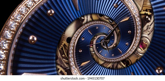 Time spiral concept. Round blue diamond golden clock with hands and mechanism twisted to surreal spiral. Timeless watch Abstract background. Limitless spiral clock