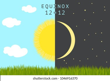 Time of spring equinox occurs around 20 March. Day equals night. Holiday Nowruz or Persian New year. Half Sun and half Moon over wheat germs.