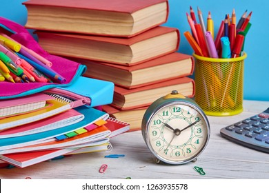 Time for study. Bright composition from the stationery. School objects for students