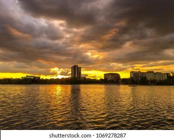 Time to sunset in mighty lake Calhoun,  uptown Minneapolis, Minnesota