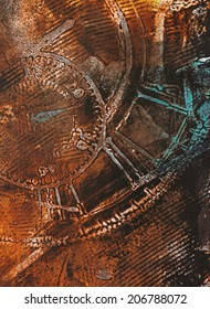 Time Theme Abstract motive - weathered distressed grunge wall structures, beautiful detail, vivid colors