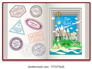 Time to travel concept illustration with international travel visa stamps. Arrival and departure sign rubber stamps.