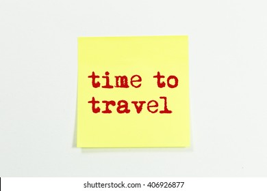 time to travel word written on yellow sticky notes. isolated on white
