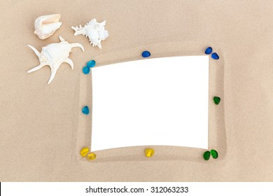 It's time to update your vacation photos,Shells, colored stones and photo frames, all of them are a reminder about a  vacation,photo frame on the beach, photography on the beach,beach vacation,