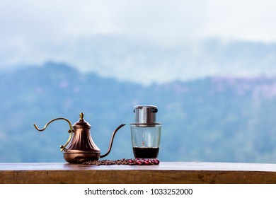 Time to Vietnamese-style coffee in the morning on solf background.