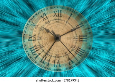 Time - A Vintage clock ticking the time away on aqua wave patterns.