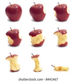 Timelapse red apple eating, HI-RES image