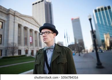 Timeless Vintage Man Walking In Downtown Columbus