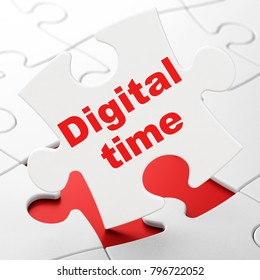 Timeline concept: Digital Time on White puzzle pieces background, 3D rendering