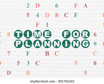 Timeline concept: Painted green text Time for Planning on White Brick wall background with Hexadecimal Code, 3d render