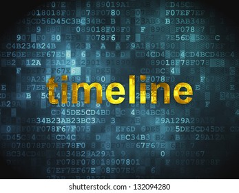 Timeline concept: pixelated words Timeline on digital background, 3d render