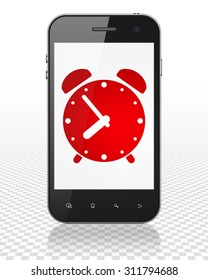 Timeline concept: Smartphone with red Alarm Clock icon on display