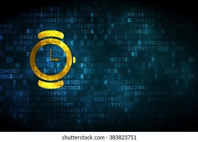 Timeline concept: Watch on digital background