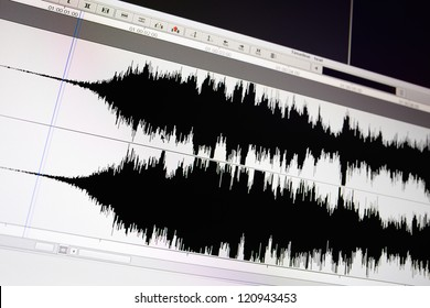 Timeline window with black sound waveform in the film editing soft.