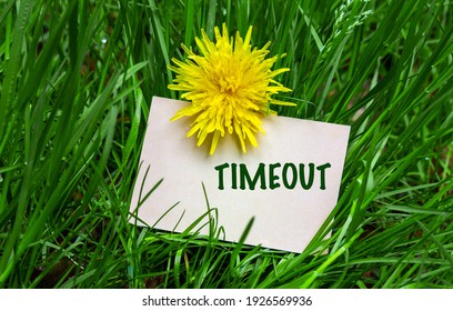 Timeout, business card in green landscape