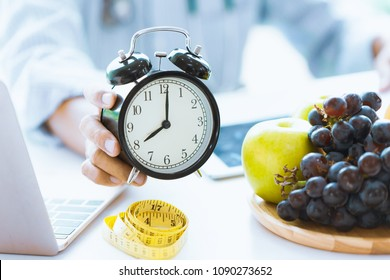 Times to Healthcare or Diet Food advisor show clock for timing care your health with healthy food and concept.