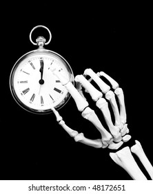 time's up - skeleton points to the time