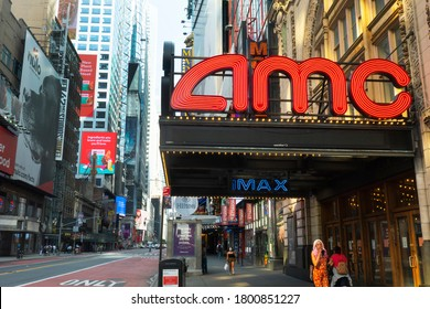 Times Sq,NYC, NY, USA. August 21, 2020.AMC Theatres 42nd Street. AMC  is an American movie theater chain headquartered in Leawood, Kansas, and the largest movie theater chain in the world.