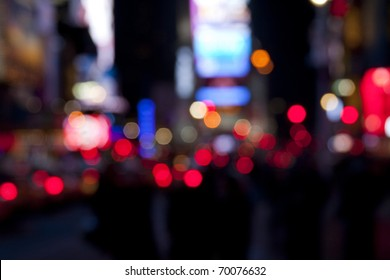 Times Square lights at night/Times Square at Night/Blurred Times Square lights and traffic at night