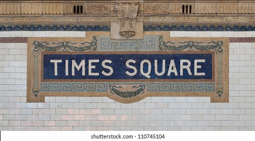 Times Square - New York city subway sign tile pattern in midtown
