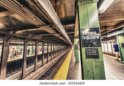 Times Square subway station interior, New York City.
