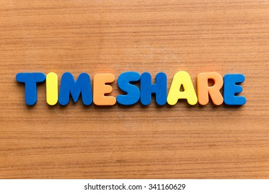 Timeshare colorful word on the wooden background