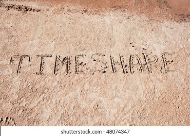 """TIMESHARE "" on a sand."