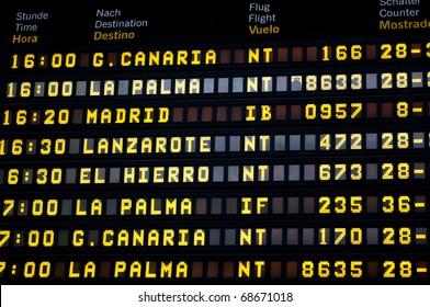 Timetable in airport of Santa Cruz de Tenerife