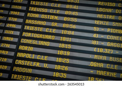 Time-table of exits and train arriving at the station of the Italian city of Venice