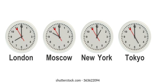 Timezone wall clocks isolated on white background