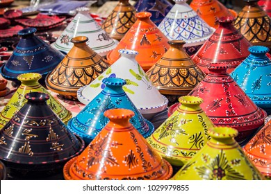 TIMGAD, ALGERIA - March 2017: Traditional berber dinnerware called Tajine for cooking couscous dish. Souvenir from Northers Africa, Algeria