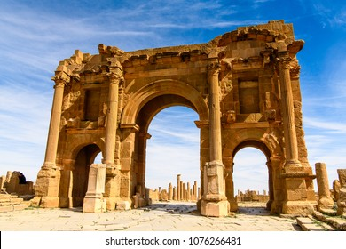 Timgad, a Roman-Berber city in the Aures Mountains of Algeria. (Colonia Marciana Ulpia Traiana Thamugadi). UNESCO World Heritage Site