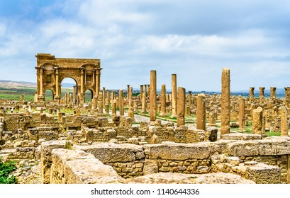 Timgad, ruins of a Roman-Berber city, UNESCO heritage in Algeria.