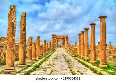 Timgad, ruins of a Roman-Berber city, UNESCO heritage in Algeria.