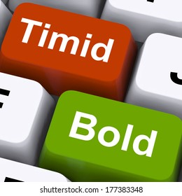 Timid Bold Keys Showing Shy Or Outspoken