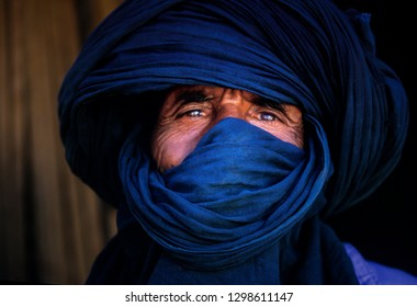 TIMIMOUN, ALGERIA - JANUARY 18, 2002: unknown people of the Touareg tribe portrayed in their villages