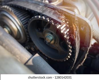 Timing belt is broken in the old car.