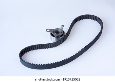 timing belt, gas distribution mechanism, roller tensioner, kit, insulated on white background