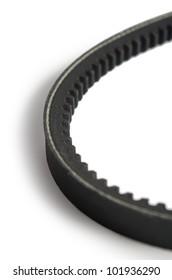 Timing belt over white background.