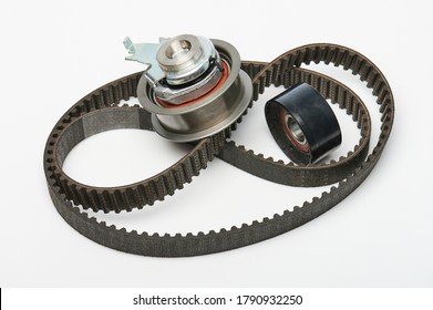 Timing belt with roller kit isolated on white background