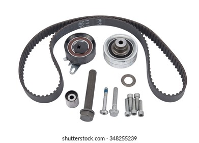 Timing belt, two rollers and the tension mechanism isolate on white background
