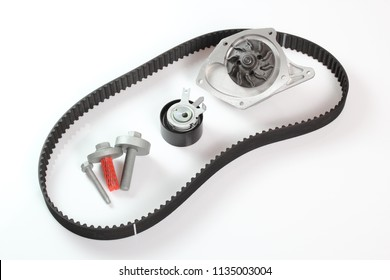 Timing Cam Tensioner Belt Kit with Water Pump. Isolated on white background.