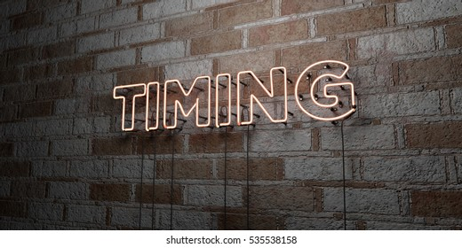 TIMING - Glowing Neon Sign on stonework wall - 3D rendered royalty free stock illustration.  Can be used for online banner ads and direct mailers.