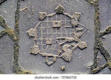 Timisoara city Romania old citadel map in paving stone ancient symbol