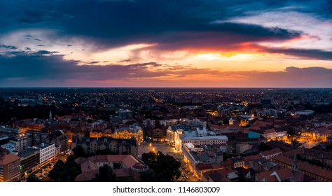 Timisoara downtown aerial view - amazing sunset with beautiful clouds