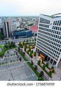TIMISOARA, ROMANIA - 05.13.2020: business building bird eye view